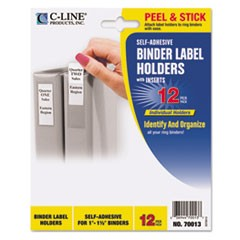 Self-Adhesive Ring Binder Label Holders, Top Load, 1 x 2 13/16, Clear, 12/Pack