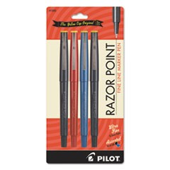Razor Point Fine Line Marker Pen, Ultra-Fine, Assorted, .3mm, 4/Pack