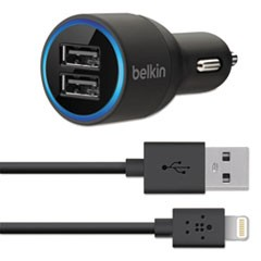 Dual Car Charger, Two 2.1 Amp Ports, Detachable Lightning Cable