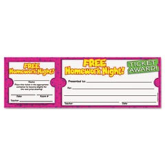 Free Homework Night Award Ticket, 8 1/2w x 2 3/4h, 100 2-Part Tickets/Pack