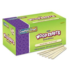 "Natural Wood Craft Sticks, 4.5"" x 0.38"", Wood, Natural, 1,000/Box"