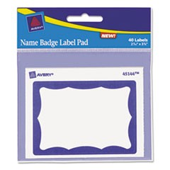 Name Badge Label Pad, 3 x 4 Pad, 2-7/16 x 3-3/8 Labels, Blue/White, 40 Labels/Pk