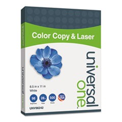 Deluxe Color Copy & Laser Paper, 98 Bright, 28lb, 8.5 x 11, White, 500/Ream