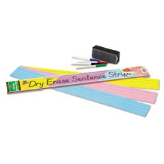 Dry Erase Sentence Strips, 24 x 3, Assorted: Blue/Pink/Yellow, 30/Pack
