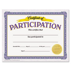 Awards and Certificates, Participation, 8 1/2 x 11, White/Purple/Gold