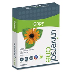 100% Recycled Copy Paper, 92 Bright, 20lb, 8.5 x 11, White, 500 Sheets/Ream, 10 Reams/Carton