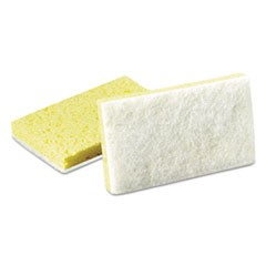 Light-Duty Scrubbing Sponge, #63, 3 1/2 x 5 5/8, Yellow/White