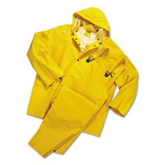 Rainsuit, PVC/Polyester, Yellow, Large