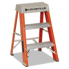 "Fiberglass Heavy Duty Step Ladder, 26"" Working Height, 300 lbs Capacity, 2 Step, Orange"