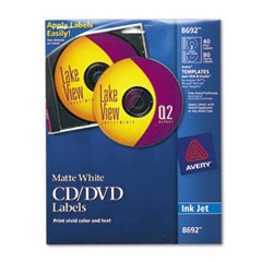 Inkjet CD Labels, Matte White, 40/Pack