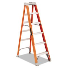 "Fiberglass Heavy Duty Step Ladder, 45"" Working Height, 300 lbs Capacity, 5 Step, Orange"