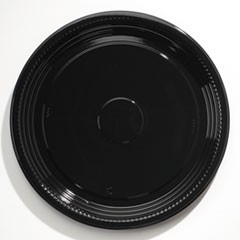 "Caterline Casuals Thermoformed Platters, PET, Black, 18"" Diameter"