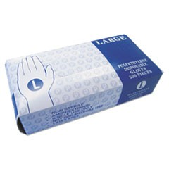 Embossed Polyethylene Disposable Gloves, Large, Powder-Free, Clear, 2000/Carton