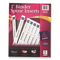 Avery Binder Spine Inserts, 1  Spine Width, 8 Inserts/Sheet, 5 Sheets/Pack