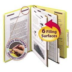 Six-Section Pressboard Top Tab Classification Folders with SafeSHIELD Fasteners, 2 Dividers, Letter Size, Yellow, 10/Box