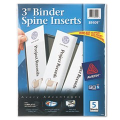 Avery Binder Spine Inserts, 3  Spine Width, 3 Inserts/Sheet, 5 Sheets/Pack