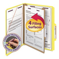 Four-Section Pressboard Top Tab Classification Folders with SafeSHIELD Fasteners, 1 Divider, Letter Size, Yellow, 10/Box