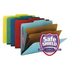 Smead Six-Section Pressboard Top Tab Classification Folders W/ Safeshield Fasteners, 2 Dividers, Letter Size, Assorted, 10/Box