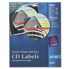 Avery Inkjet Full-Face Cd Labels, Glossy White, 20/Pack
