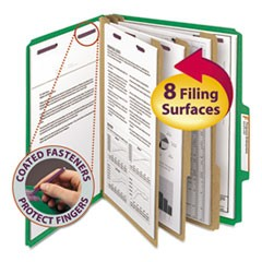 Eight-Section Pressboard Top Tab Classification Folders w/ SafeSHIELD Fasteners, 3 Dividers, Letter Size, Green, 10/Box