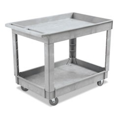 Utility Cart, Two-Shelf, Plastic Resin, 24w x 40d, Gray