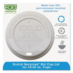 EcoLid 25% Recy Content Hot Cup Lid, White, F/10-20oz, 100/PK, 10 PK/CT