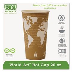 World Art Renewable Compostable Hot Cups, 20 oz., 50/PK, 20 PK/CT