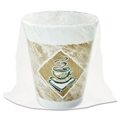 Foam Hot/Cold Cups, 8 oz., Caf� G Design, White/Brown with Green Accents
