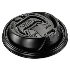 Optima Hot Cup Lids, 12-24oz Cups, Black, 100/Sleeve, 10 Sleeves/Carton