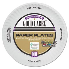 Ajm Packaging Corporationcoated Paper Plates, 9 Inches, White, Round, 100/Pack