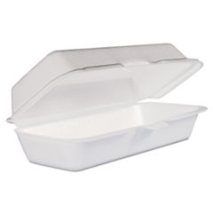 Foam Hot Dog Container with Hinged Lid, 7-1/10 x 3-4/5 x 2-3/10, White, 125/Bag