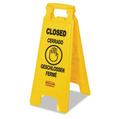 "Multilingual ""Closed"" Sign, 2-Sided, Plastic, 11w x 12d x 25h, Yellow"