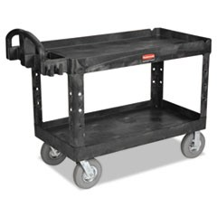 Heavy-Duty 2-Shelf Utility Cart, TPR Casters, 26w x 55d x 33 1/4h, Black
