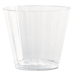 Classic Crystal Plastic Tumblers, 9 oz., Clear, Fluted, Squat, 12/Pack