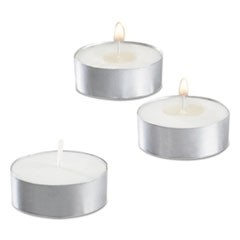 "Tealight Candle, 5 Hour Burn, 0.5""h, White, 50/Pack, 10 Packs/Carton"