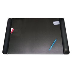 Executive Desk Pad with Leather-Like Side Panels, 36 x 20, Black