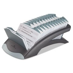 Durable Telindex Desk Address Card File, Holds 500 4 1/8 X 2 7/8 Cards, Graphite/Black