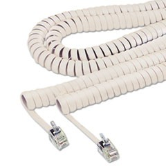Coiled Phone Cord, Plug/Plug, 12 ft., Ivory