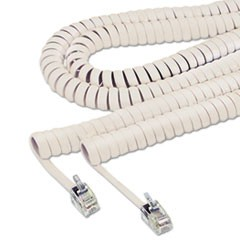Coiled Phone Cord, Plug/Plug, 25 ft., Beige