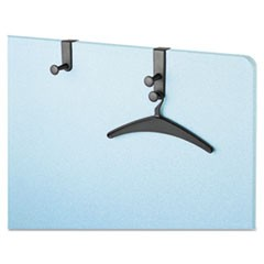 "Two-Post Over-The-Panel Hook with Two Garment Hangers, 1 1/2"" - 3"" Panels, Black"