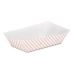 Kant Leek Clay-Coated Paper Food Tray, 6 1/10  x 2 1/10 x 9 3/10, Red Plaid