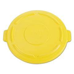 Vented Round BRUTE Flat Top Lid, 24.5w x 1.5h, Yellow
