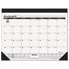 Monthly Refillable Desk Pad, 22 x 17, White, 2018