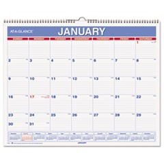 Monthly Wall Calendar, 15 x 12, Red/Blue, 2017