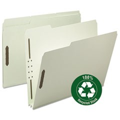 100% Recycled Pressboard Fastener Folders, Letter Size, Gray-Green, 25/Box