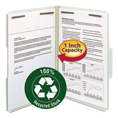 100% Recycled Pressboard Fastener Folders, Legal Size, Gray-Green, 25/Box
