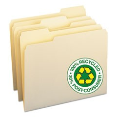 100% Recycled Manila Top Tab File Folders, 1/3-Cut Tabs, Letter Size, 100/Box