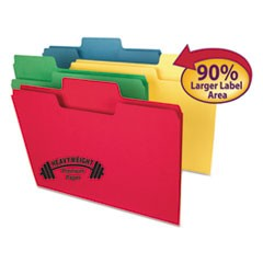 SuperTab Colored File Folders, 1/3-Cut Tabs, Letter Size, 14 pt. Stock, Assorted, 50/Box