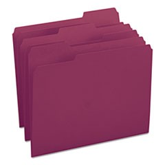 Colored File Folders, 1/3-Cut Tabs, Letter Size, Maroon, 100/Box