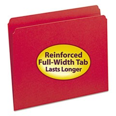 Reinforced Top Tab Colored File Folders, Straight Tab, Letter Size, Red, 100/Box